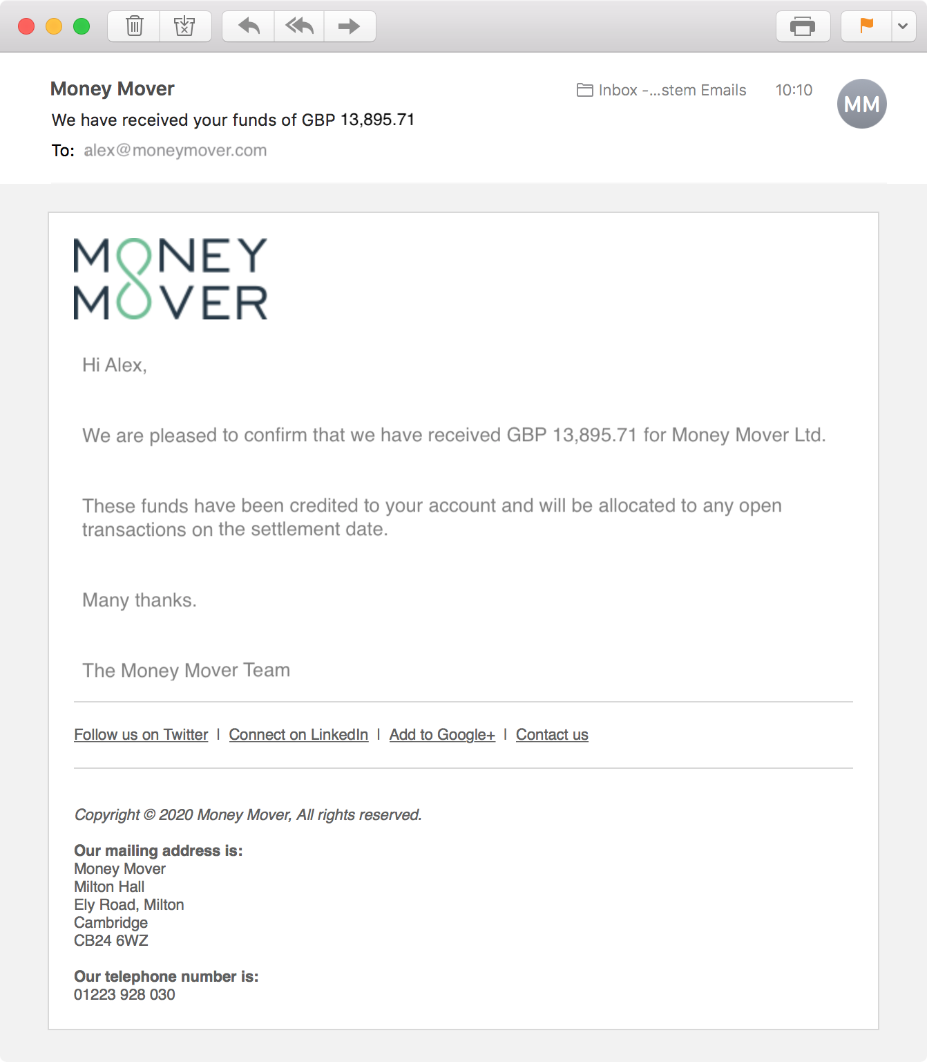 Funds received email confirmation
